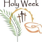 Holy Week, palm frond, wash basin and 3 crosses